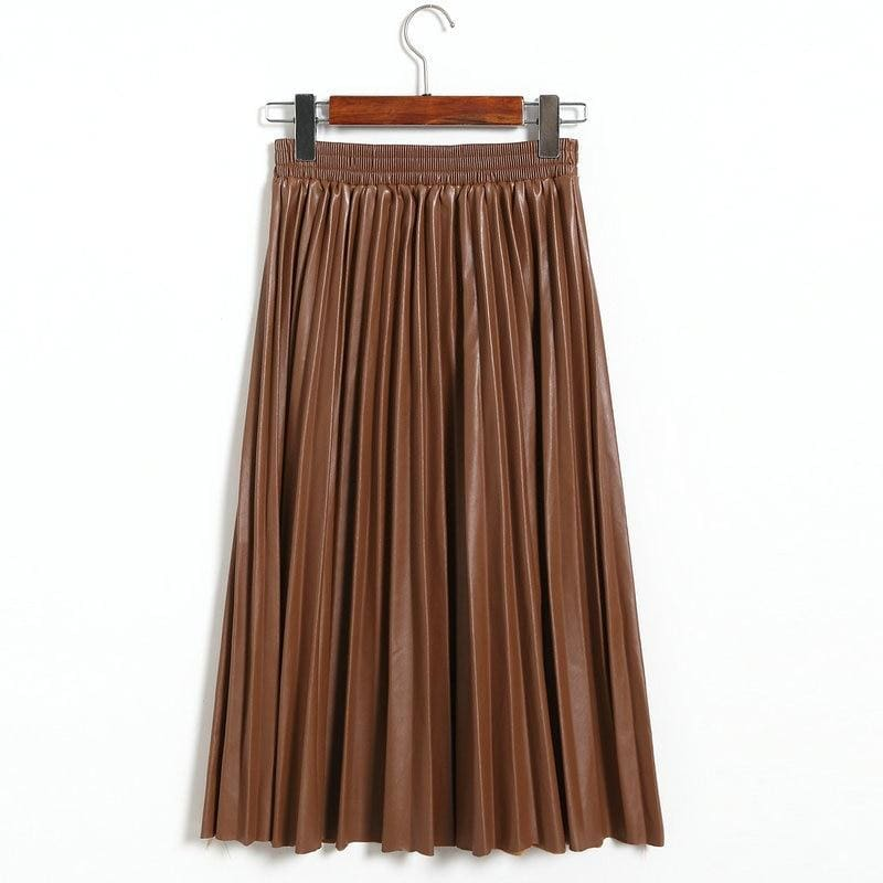 The Best Fashion Pleated Skirt Women's High Waist Plain Jersey Summer Bodycon PU Wet Tube Stretch Pencil Bodycon Midi Skirt Online - Hplify