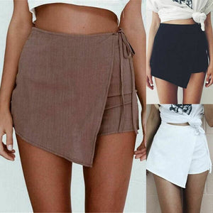 Fashion Sexy Lady Women Solid Summer Shorts Sexy Casual High Waist Irregular Bandage Shorts Hot - Bottoms