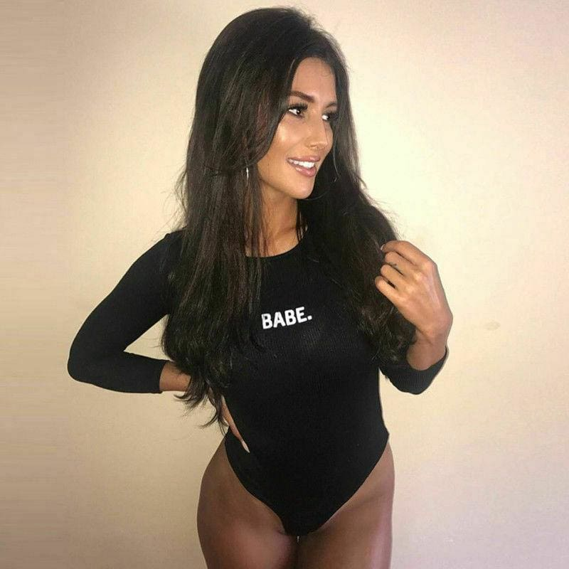 The Best Fashion Sexy Women BABE Letter Long Sleeved Bodysuits Casual Skinny Bodysuits Autumn Winter O-neck One Piece Body Bodysuits Online - Hplify
