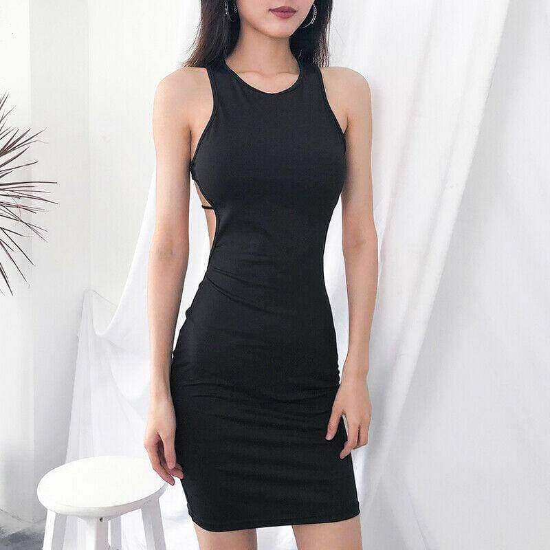 The Best Fashion Sexy Women Backless Strap Sleeveless Hollow Package Hip Bodycon Dress Ladies Summer Slim Solid Casual Dress Sundress Online - Source Silk