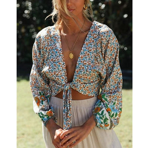 Fashion Spring Women Long Sleeve Floral Cropped Cardigan Blouse Bolero Shrug Casual Coat Top Shirt - Tops