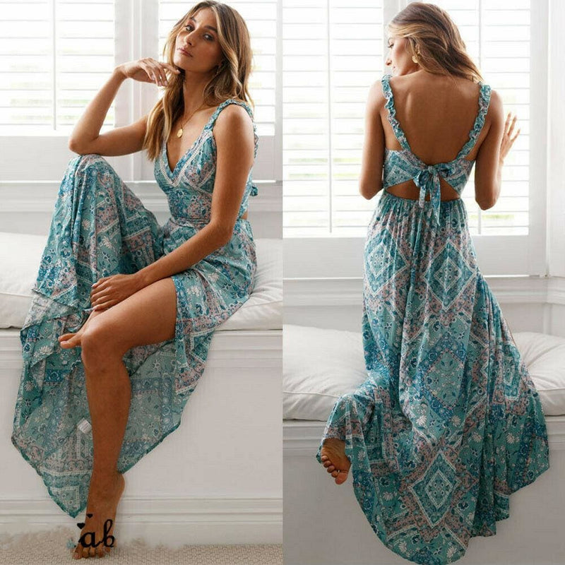 The Best Fashion Summer Dress Women Boho Evening Party Dress Ladies Casual Backless Summer Beach Holiday Sexy Sundress Online - Hplify
