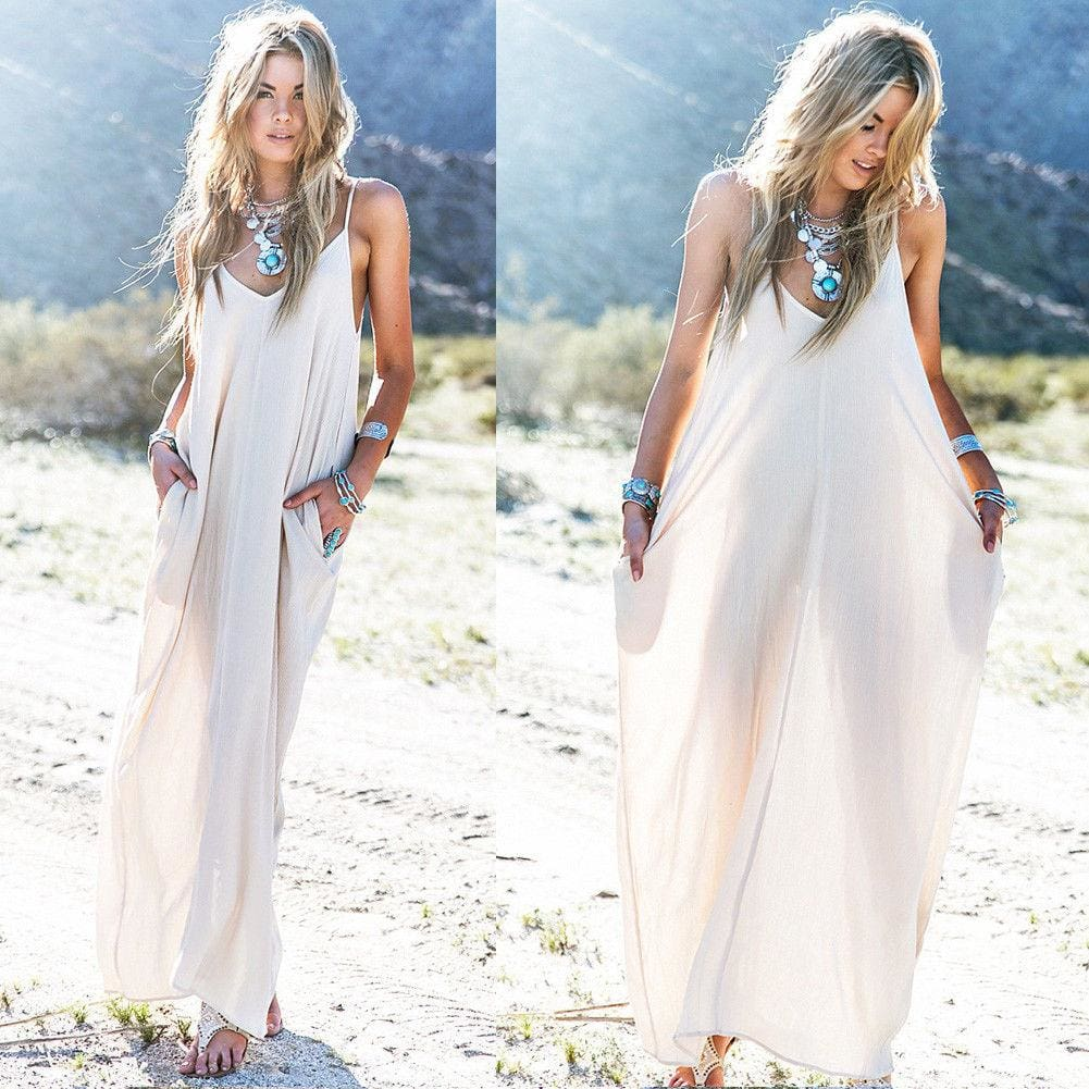 The Best Fashion Summer Dress Women Boho Long Maxi Dress Ladies Casual Beach Holiday Party Casual Loose Summer Sundress Online - Source Silk