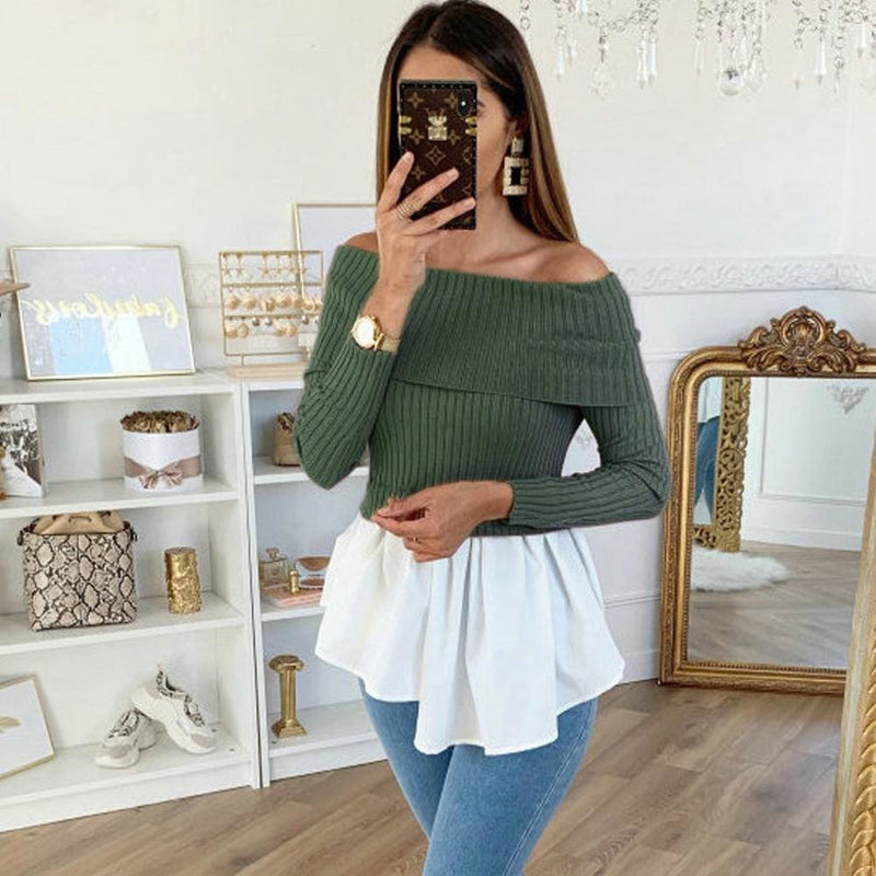 The Best Fashion Sweater Women's Off Shoulder Knitted Sweatshirt Slouch Long Sleeve Pullover Sweaters Jumper Tops Online - Hplify