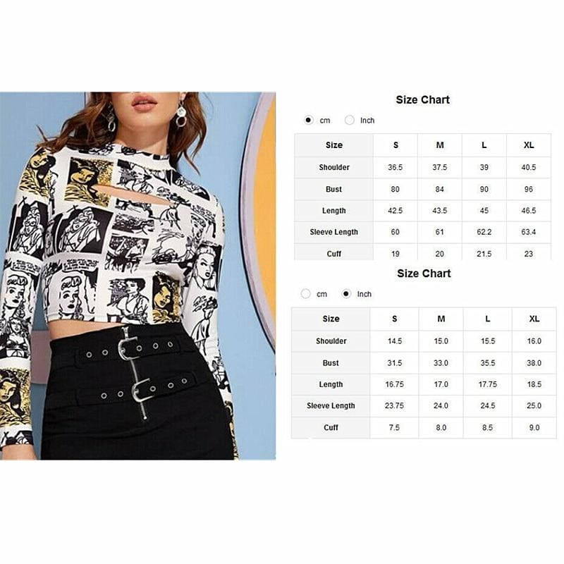 Fashion T shirt Women's Printed Crop Tops Slim Fitness Sexy Ladies Turtleneck Long Sleeve Autumn Casual Tops Tee - Hplify