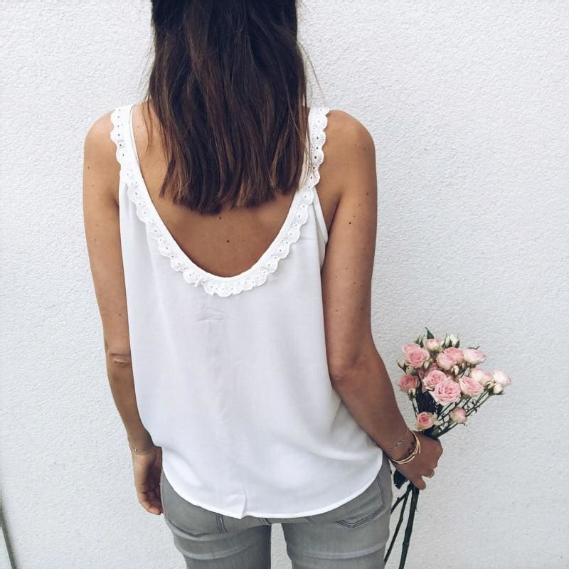 The Best Fashion Vest Tops Women Summer Loose Sleeveless Casual Tank Top Shirt Sexy Ladies Solid Cami Holiday Clothes Online - Source Silk