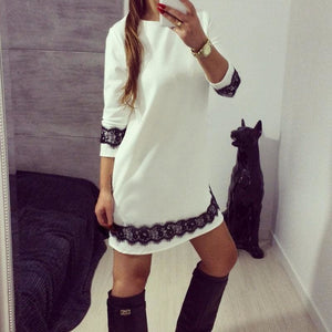 Fashion White Lace Women Autumn Long Sleeve Casual Cocktail Dress Ladies Evening Party Tunic Mini Dresses - Hplify