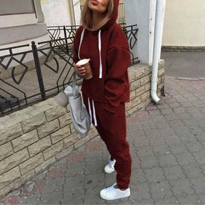 Fashion Women 2Pcs Hoodies Sweatshirt Pants Sets Ladies Casual Tracksuit Jogging Running Gym Sport Suit Sportwear - Red / S - Womens