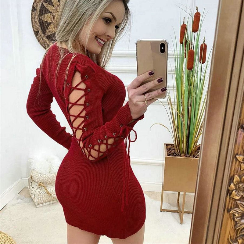 The Best Fashion Women Autumn Bandage Bodycon Dress Ladies Casual Crew Neck Hollow Out Long Sleeve Party Cocktail Dress Online - Hplify