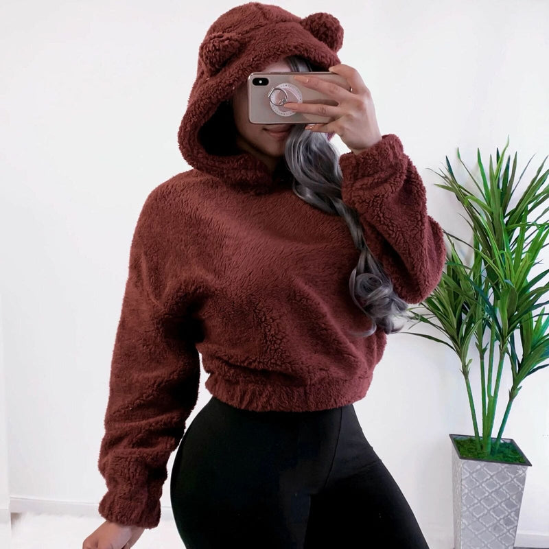 The Best Fashion Women Autumn Fleece Sweatshirt Casual Hooded Long Sleeve Pullover Warm Hoodies Jumper Online - Hplify