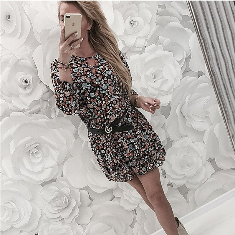 The Best Fashion Women Autumn Long Sleeve Floral Dress Elegant V Neck Loose Ladies Dresses Dames Evening Party Club Flower Streetwear Online - Source Silk