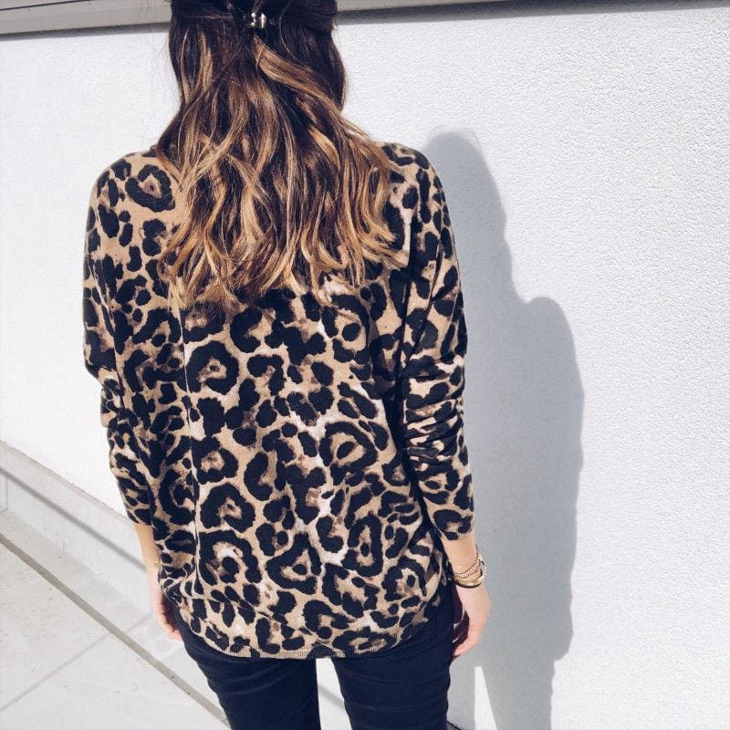 Fashion Women Autumn V neck Tops Ladies Leopard Loose Tee Shirt Femme Long Sleeve Casual T-Shirt Streetwear - Tops