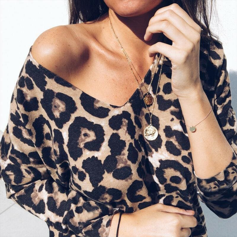 The Best Fashion Women Autumn V neck Tops Ladies Leopard Loose Tee Shirt Femme Long Sleeve Casual T-Shirt Streetwear Online - Hplify