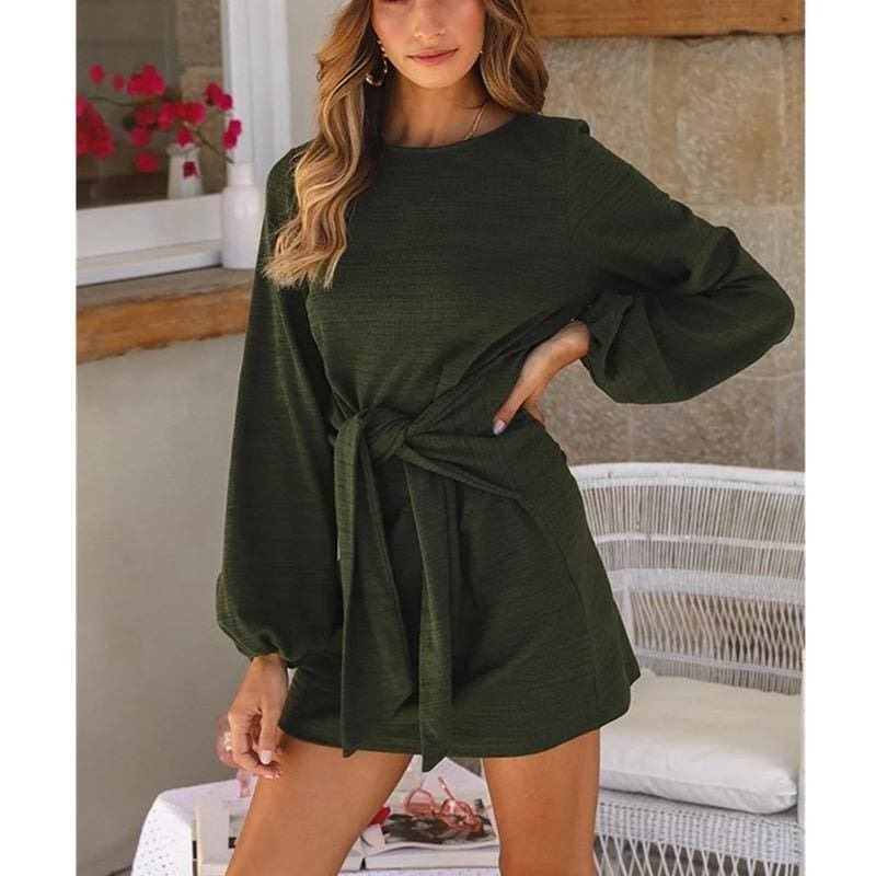 The Best Fashion Women Autumn Winter Long Lantern Sleeve Knitted Bodycon Tie Waist Pencil Sweater Dress Online - Source Silk