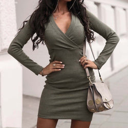 The Best Fashion Women Autumn Winter Long Sleeve Bodycon Mini Dresses Sexy Ladies Casual V Neck Jumper Party Dress Online - Hplify