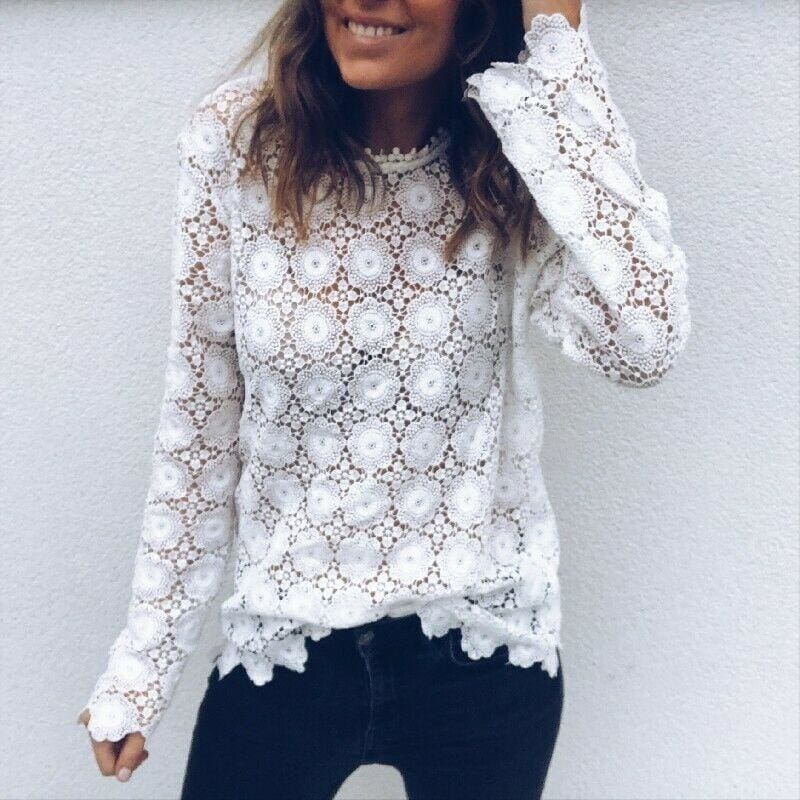 The Best Fashion Women Boho Beach Holiday Summer Loose Casual Chiffon Lace Floral Embroider White Tops Femme Ladies Mesh Shirt Online - Hplify