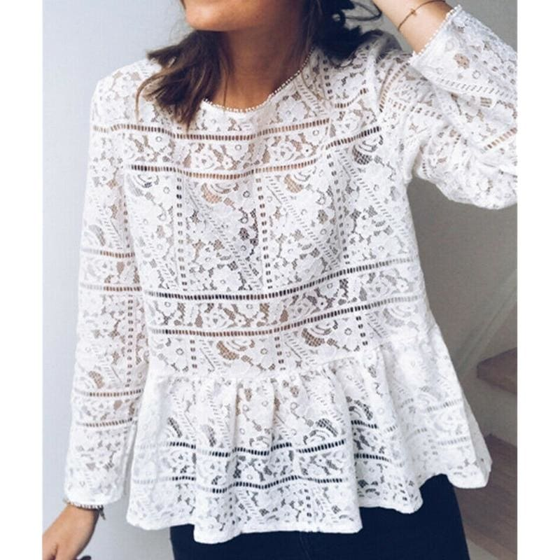 The Best Fashion Women Boho Beach Holiday Summer Loose Casual Chiffon Lace Ruffled Embroider White Tops Femme Ladies Mesh Blouse Online - Hplify