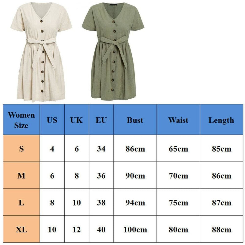 The Best Fashion Women Boho Cotton Linen Sundress Ladies Summer Short Sleeve Holiday Beach Button Loose Solid Short Dress Online - Hplify