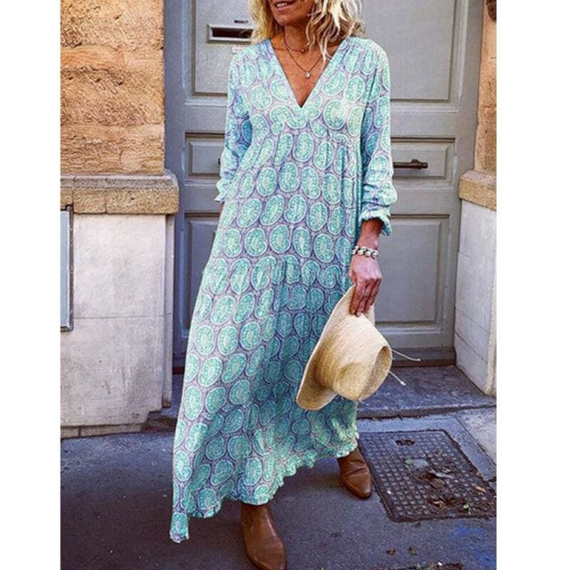 The Best Fashion Women Boho Deep V Neck Floral Long Maxi Dress Tunic Beach Kaftan Holiday Club Casual Loose Dresses Sundress Online - Hplify