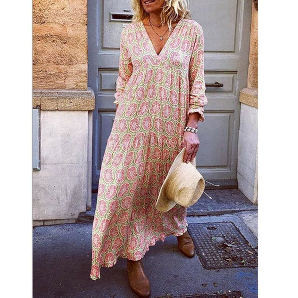 Fashion Women Boho Deep V Neck Floral Long Maxi Dress Tunic Beach Kaftan Holiday Club Casual Loose Dresses Sundress - Pink / S - Dresses