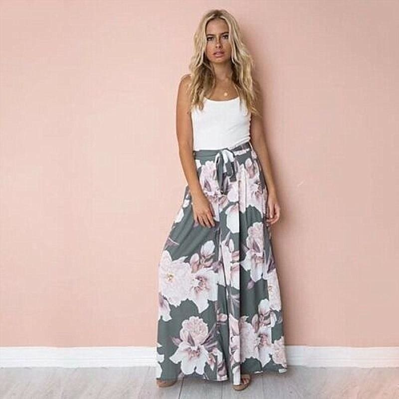 The Best Fashion Women Boho Floral High Waist Long Pants Palazzo Baggy Wide Leg Ladies Summer Loose Casual Trousers Online - Hplify