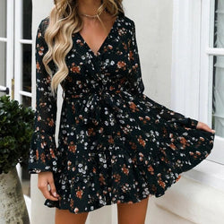 The Best Fashion Women Boho Ruffle Floral Holiday Mini Sun Dress Frill Ladies Summer Autumn Beach Print Party Mini Dress Online - Hplify