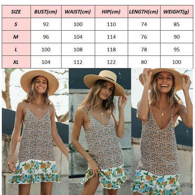 The Best Fashion Women Boho Strappy Sexy V-Neck Floral Mini Dress Holiday Beach Sundress Casual Loose Summer Dresses Online - Hplify