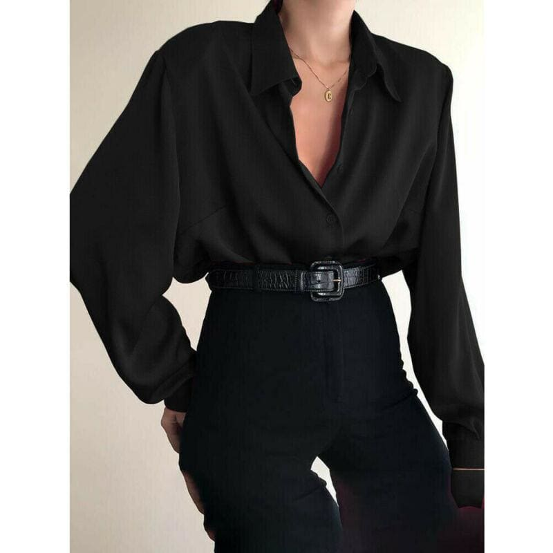 The Best Fashion Women Button Down Blouse Shirts Ladies Autumn Long Sleeve Casual V-Neck Loose OL Work Blouse Tops Online - Hplify