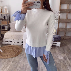 The Best Fashion Women Casual Bowknot Round Neck Pullover Blouse Tops Autumn Lady Long Sleeve Patchwork Sweater Jumper Shirt Online - Hplify