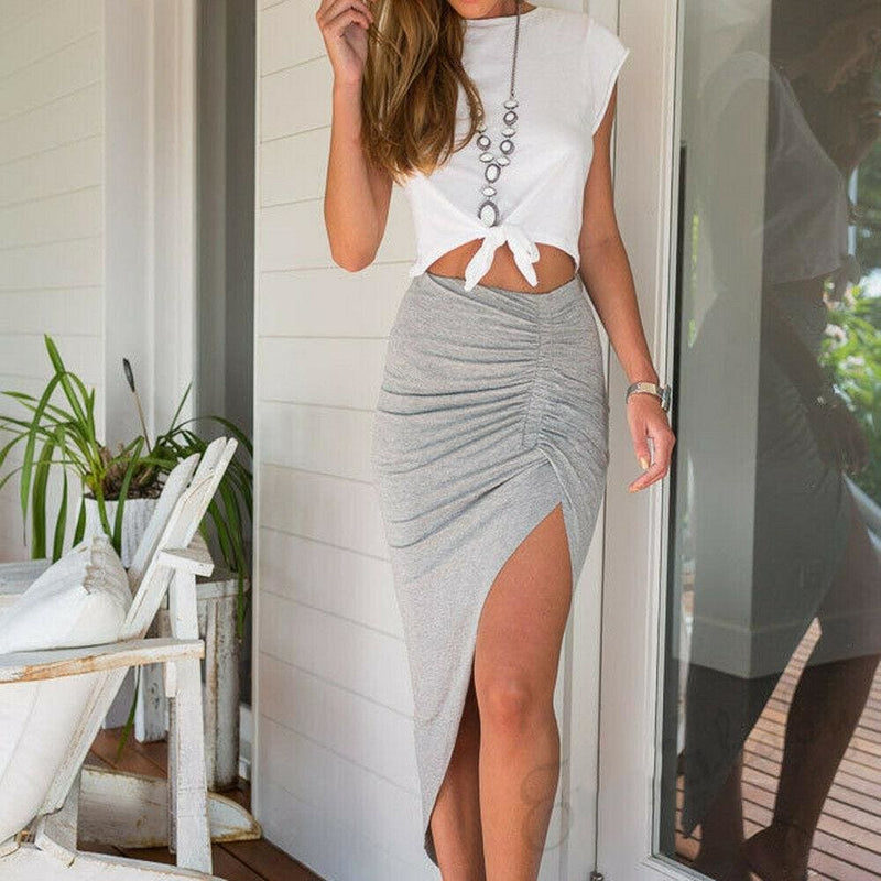 The Best Fashion Women Casual High Waist Ladies Summer Beach Asymmetric Stretch Ruched Solid Skirt Party Bodycon Sundress New Online - Hplify
