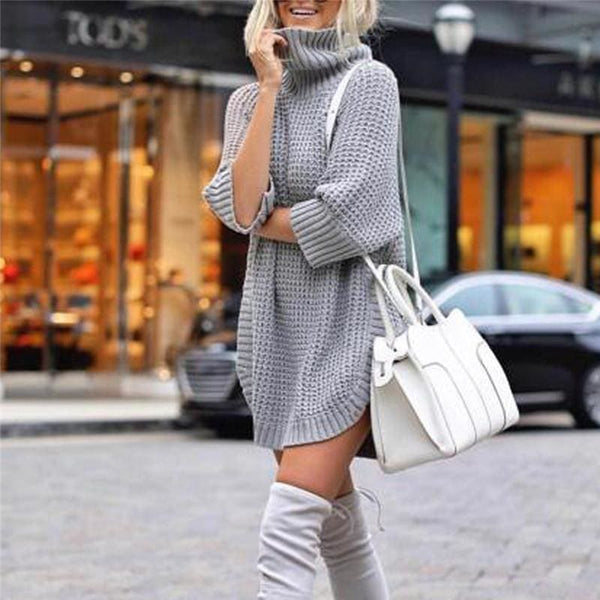 The Best Fashion Women Casual Irregular Long Sweater Dress Knitted Sweater Top Online - Hplify