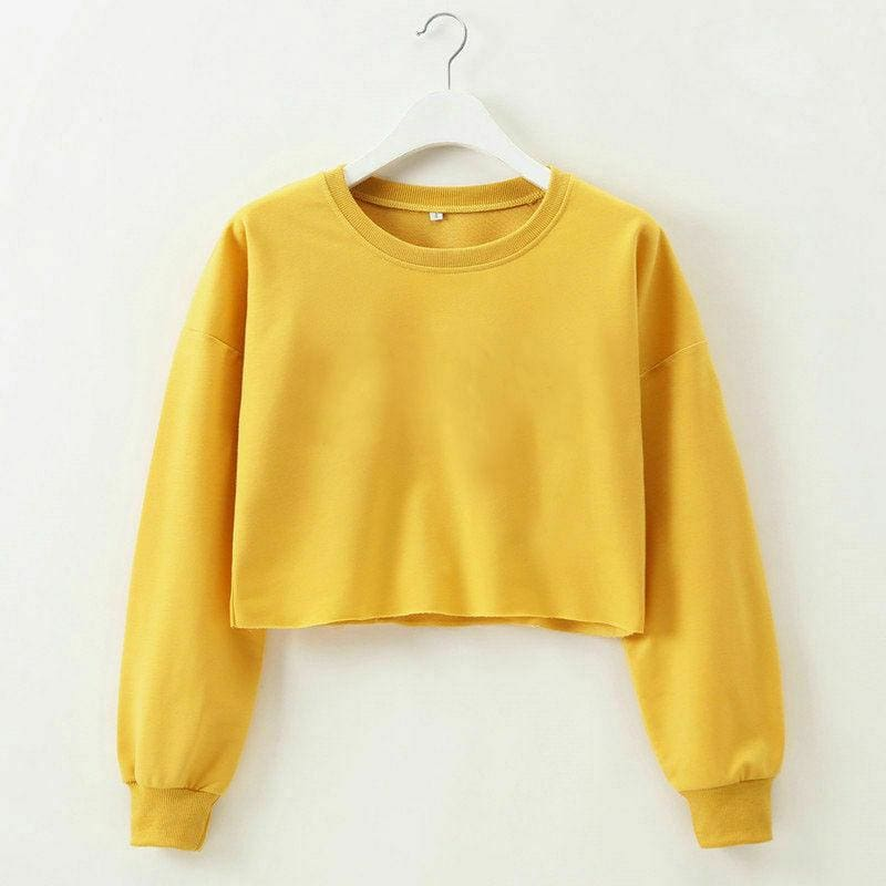 The Best Fashion Women Casual Long Sleeve Solid Sweatshirt Jumper Summer Autumn Holiday Casual Sportwear Crop Top Loose Pullover Coat Online - Hplify