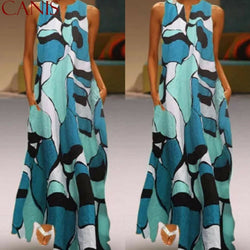 The Best Fashion Women Casual Sleeveless Summer Loose Long Maxi Dress Boho O-neck Unique Design Beach 2019 New Ladies Dress Online - Hplify