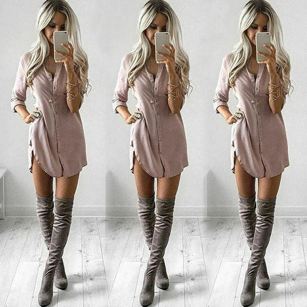The Best Fashion Women Casual T shirt Dress Elegant long sleeve Party Club Dress V neck OL Clothing Dames robe femme vestidos Streetwear Online - Hplify