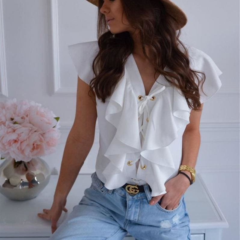 The Best Fashion Women Casual Top Ruffles V Neck Lace up Tank Bandage White Vest Elegant Ladies Casual Beach Holiday Tops Tee Online - Source Silk