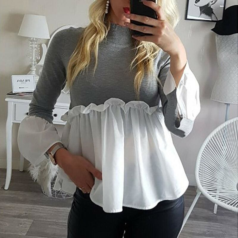 The Best Fashion Women Crew Neck Long Sleeve Tops Autumn Ladies Casual Ruffle Hem T Shirt Pullover Tops weater Jumper Online - Hplify