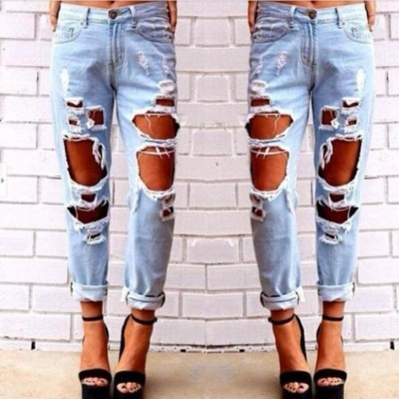 The Best Fashion Women Destroyed Ripped Jeans Distressed Slim Pants High Waist Denim Jeans Online - Hplify