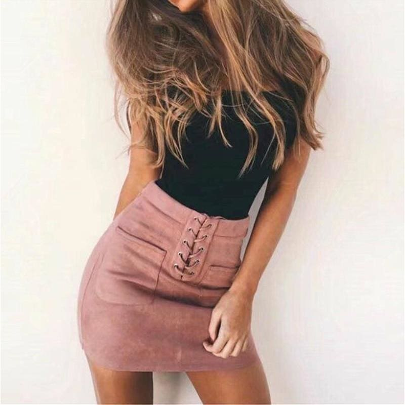 The Best Fashion Women Elastic Pleated Skirt  Ladies Bandage High Waist Party Pencil Short Mini Skirt Women Brief Solid Daily Skirts Online - Hplify