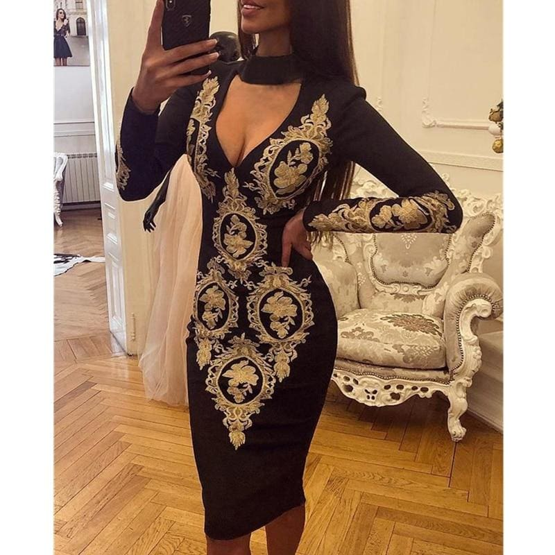 The Best Fashion Women Elegant Floral Dress Sexy Ladies Deep V Neck Long Sleeve Bodycon Slim Fit Casual Club Party Dress Online - Hplify
