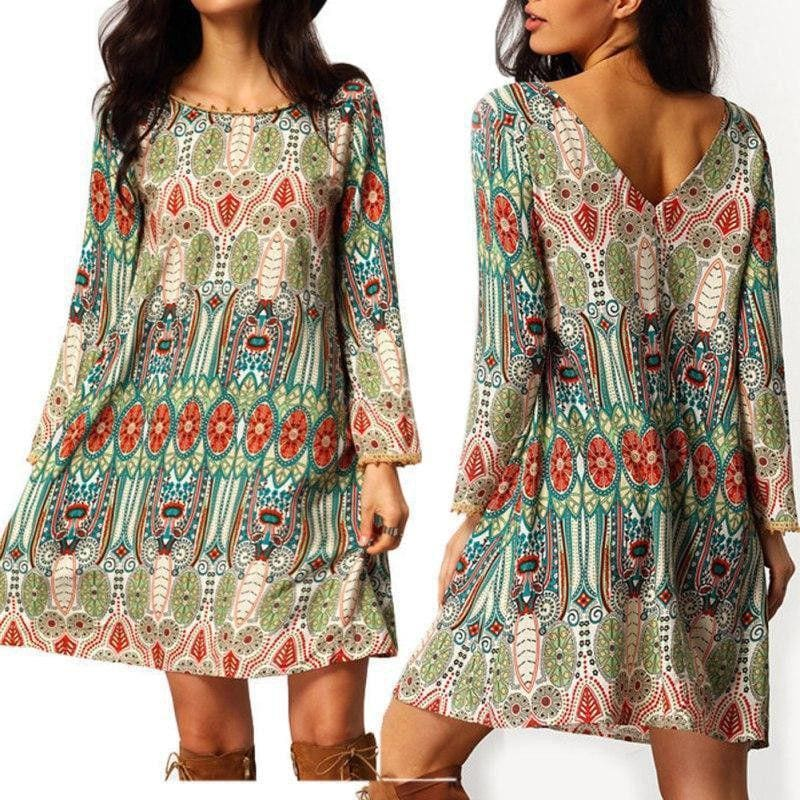 The Best Fashion Women Floral Boho Chiffon Sundress Ladies Casual Long Sleeve Summer Beach Holiday Loose Short Mini Dress Online - Hplify
