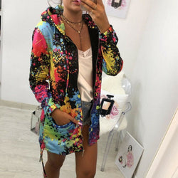 The Best Fashion Women Floral Hooded Femme Coats and Jackets Harajuku Hip hop Kpop Jacket Outwear Dames Kleding Streetwear Online - Hplify