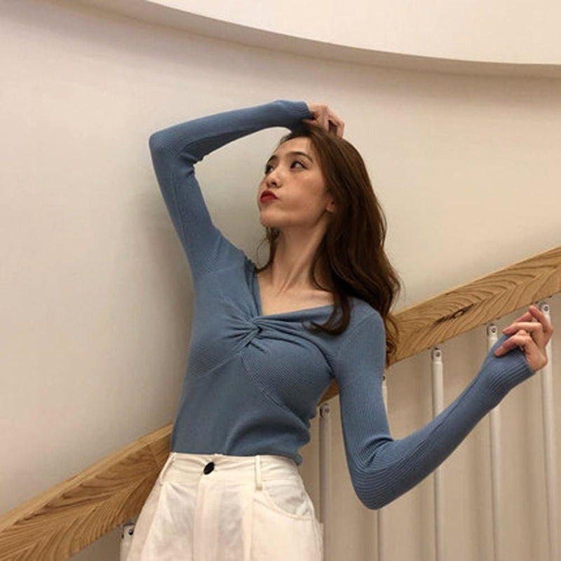 The Best Fashion Women Girl Long Sleeve Knitted Pullover Tops Autumn V Neck Sweater Casual Jumper Knit Tops Knitwear Online - Hplify
