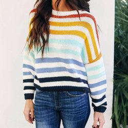 The Best Fashion Women Girls Autumn Loose Knitting Rainbow Sweater Pullover Jumper O Neck Long Sleeve Casual Tops 2019 New Online - Hplify