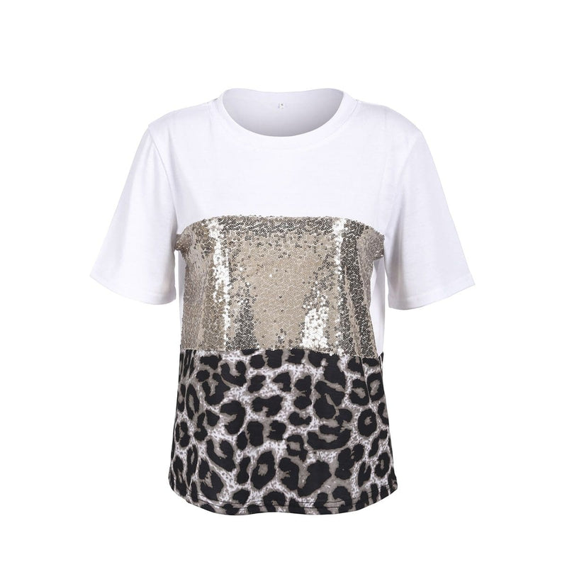 The Best Fashion Women Girls Short Sleeve Paillette Summer Casual Shirt Holiday Leopard Soft Tops T-Shirt New Online - Hplify