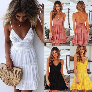 Fashion Women Girls Summer Bow Dresses Sexy Women V-neck High Waist Sleeveless Beach Backless Lace Patchwork Dress - Hplify