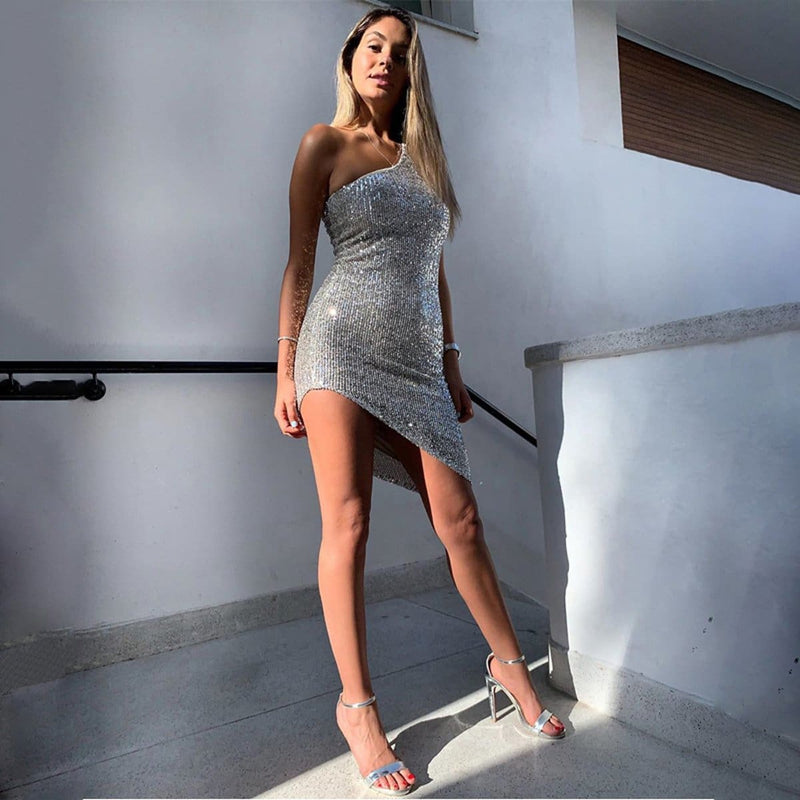 The Best Fashion Women Glitter Sequin sleeveless Short Mini Dress Sexy Ladies Bodycon Evening Party Clubwear Female vestidos Online - Hplify