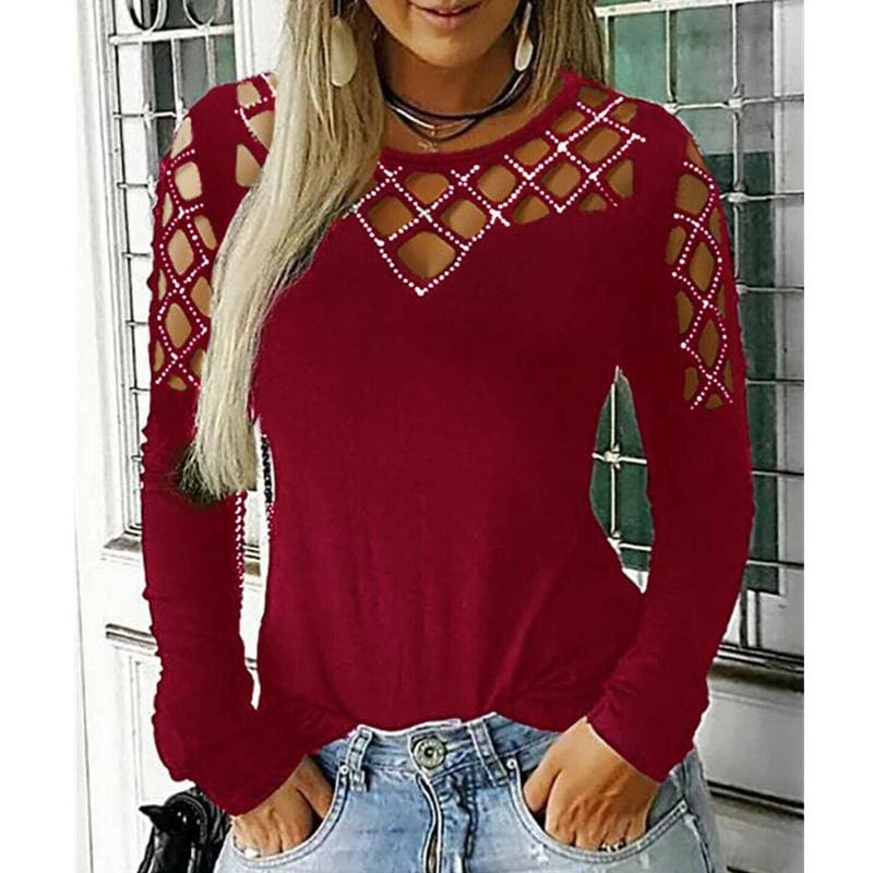 The Best Fashion Women Hollow Out Long Sleeve Casual Shirt Top Sexy Ladies O-Neck Autumn Casual Top Outwear Streetwear Online - Hplify