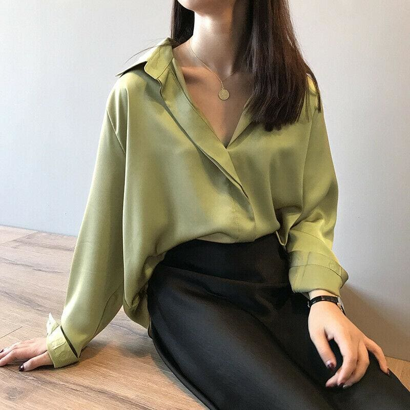 The Best Fashion Women Fashion Long Sleeves Satin Blouse Top Casual Female Lapel Street Shirts Elegant Imitation Silk Blouse Online - Hplify