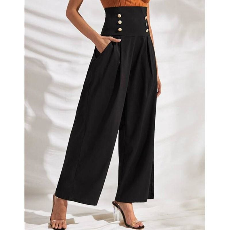 The Best Fashion Women Palazzo Wide Leg High Waist Flared Trousers Button Casual Loose OL Ladies Office Business Pants Online - Source Silk