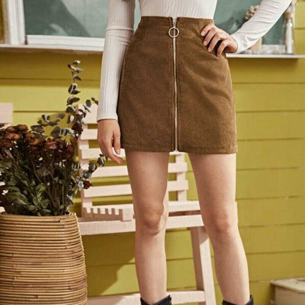 The Best Fashion Women Skirt Sexy Seamless Stretch Tight Sexy Bodycon Mini Skirt Front Zipper Elastic High Waist Short Pencil Skirt Online - Hplify